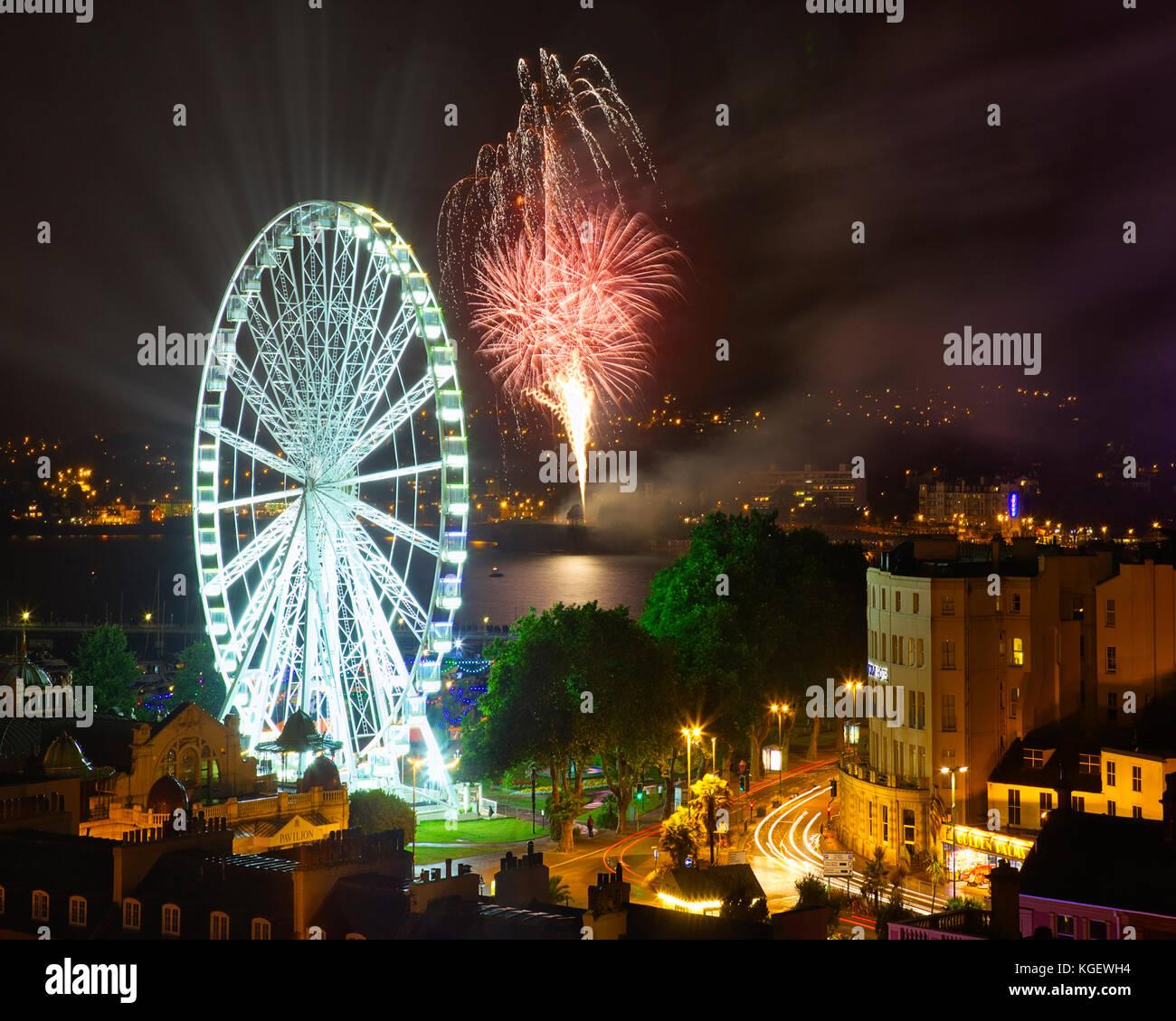 GB - DEVON: Fireworks over Torquay Stock Photo