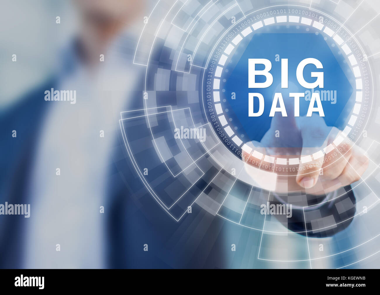 Big data technology concept with person touching complex abstract interface representing warehouse storage, cloud - Stock Image