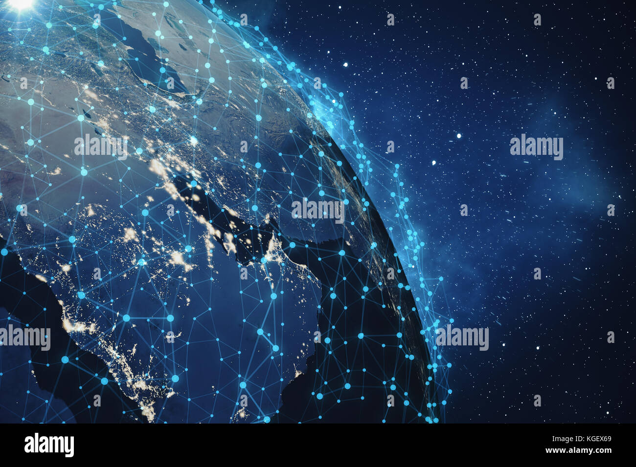 3D Rendering Global Network Background. Connection Lines with Dots Around Earth Globe. Global International Connectivity. Stock Photo