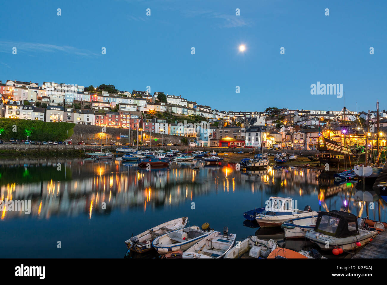 Brixham Harbour By Moonlight. - Stock Image
