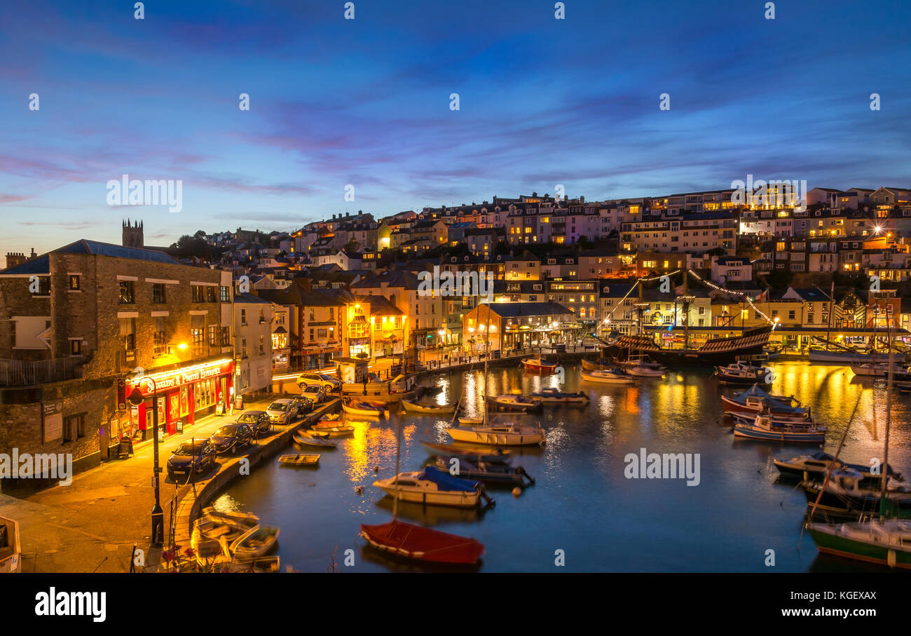 Brixham Harbour By Night. - Stock Image