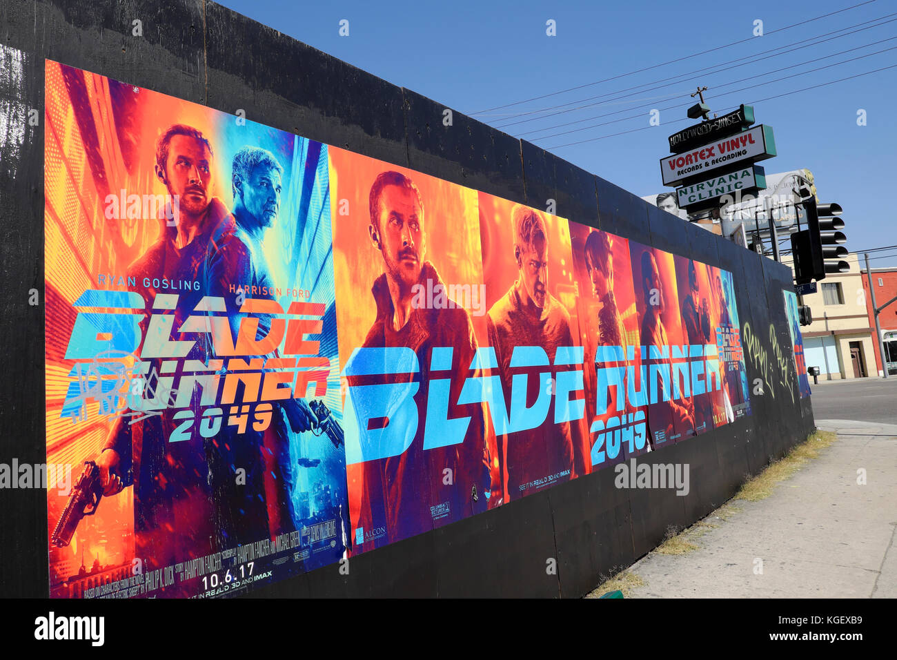 'BLADE RUNNER 2049' advertising poster billboard on a hoarding at Hollywood and Sunset Boulevard in Los - Stock Image