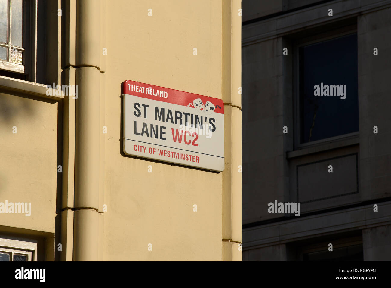 St Martin's Lane, City of Westminster, London, road street sign. Theatreland. West End. Space for copy - Stock Image