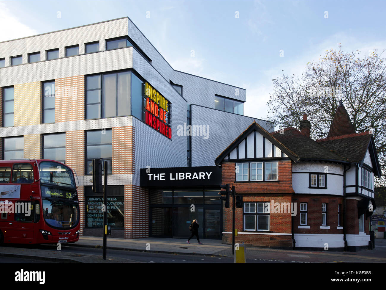 Willesden Green Library comprises a  public library, museum, archives, art gallery and performance space. - Stock Image