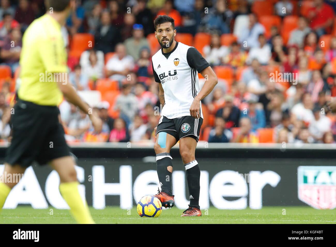 Ezquiel Garay (Valencia), NOVEMBER 4, 2017 - Football / Soccer : Spanish 'La Liga Santander' match Valencia - Stock Image