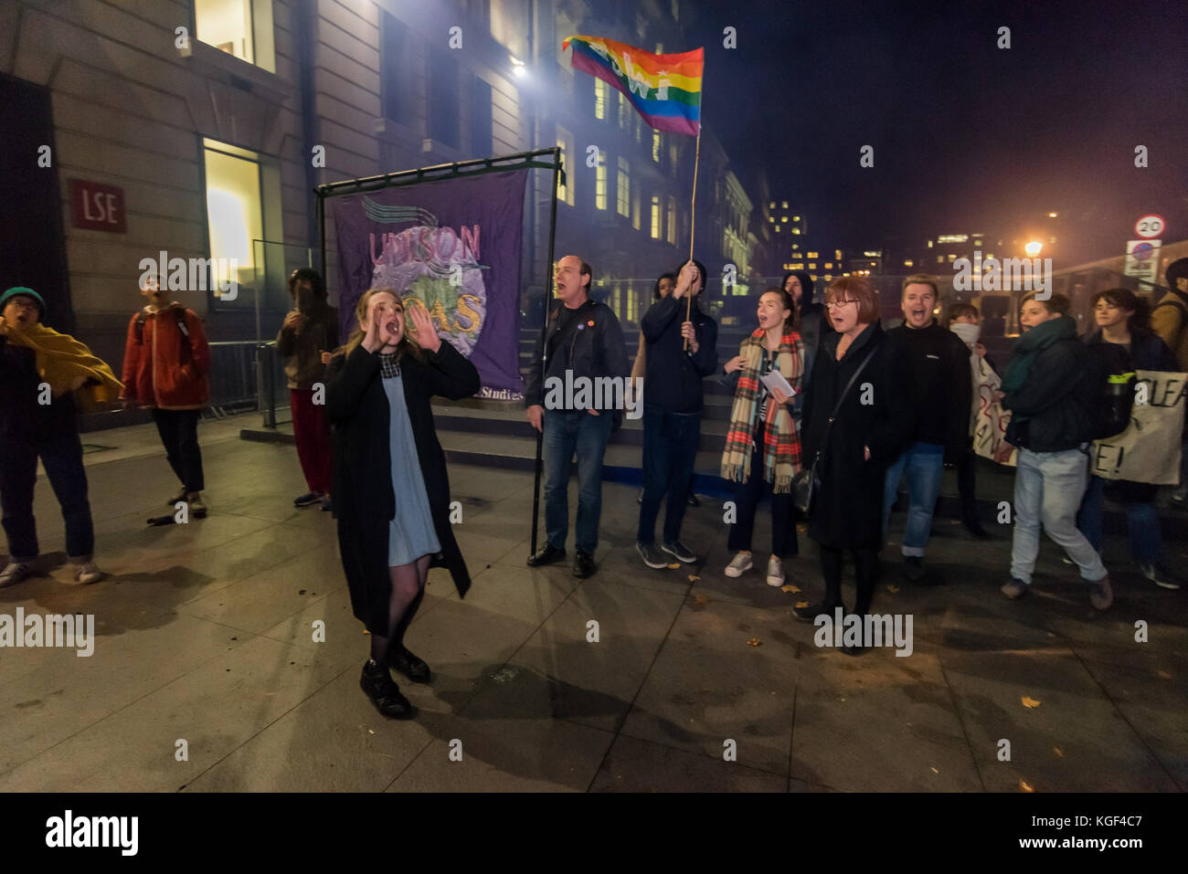 November 6, 2017 - London, UK. 6th November 2017. LSE students and supporters protest against the homophobic abuse - Stock Image