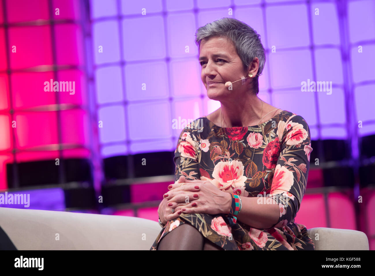 Lisbon, Portugal. 6th Nov, 2017. European Commissioner for Competition Margrethe Vestager at the Web Summit Opening - Stock Image