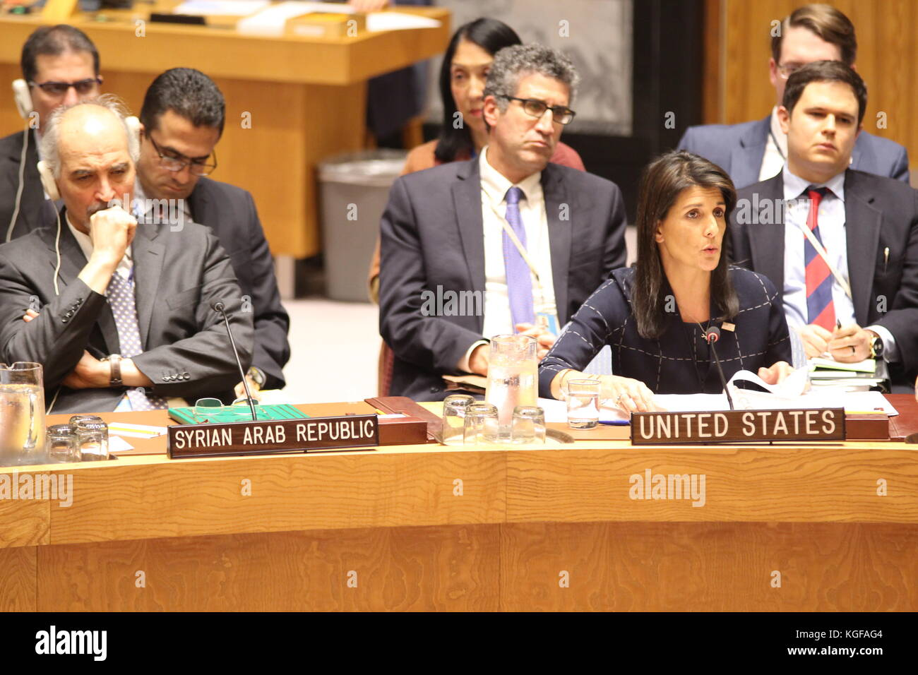 Un New York Usa 7th Nov 2017 Nikki Haley Of Us Speaks In Meccanism Long Syiria Security Council About Chemical Weapons Syria Photo Matthew Russell Lee Inner City Press Alamy Live News