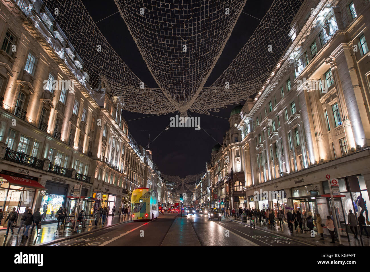 Regent Street, London, UK. 7 November, 2017. The West End's premier shopping street gets ready for Christmas, Regent - Stock Image