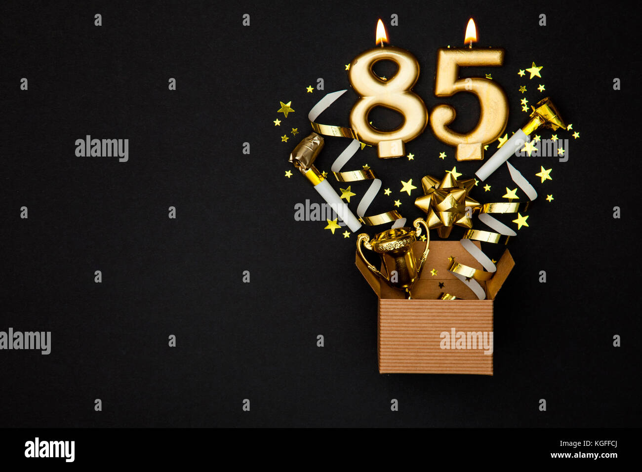 Diagram Number 95 Gold Celebration Candle And Gift Box Background
