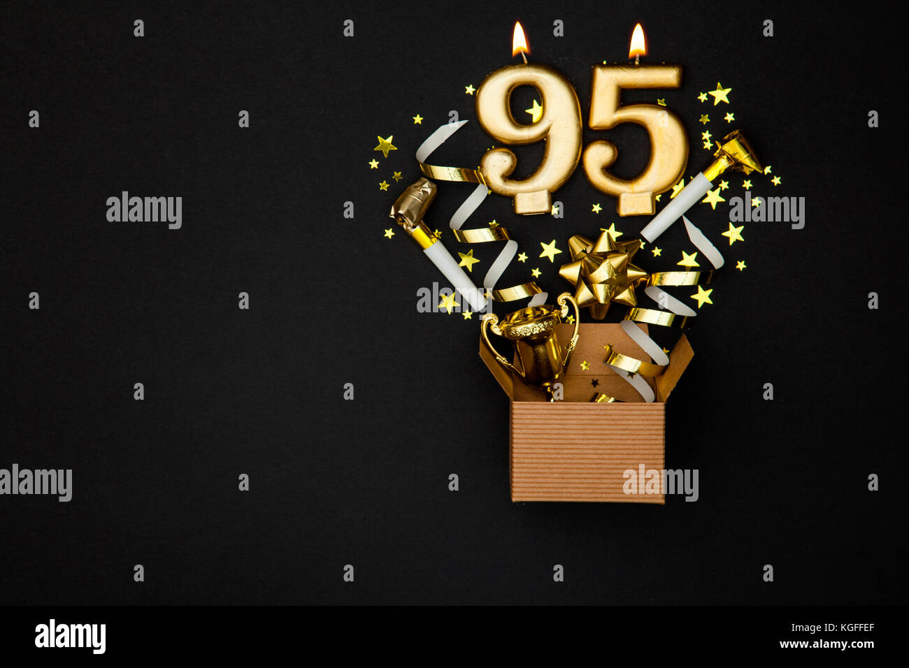 Number 95 Gold Celebration Candle And Gift Box Background
