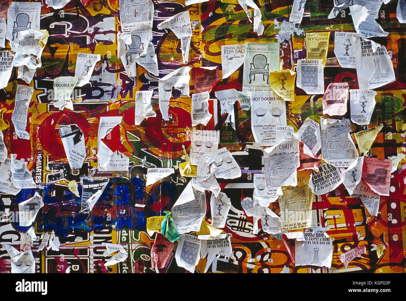 USA. New York. Wall of flyers for lost things. - Stock Image