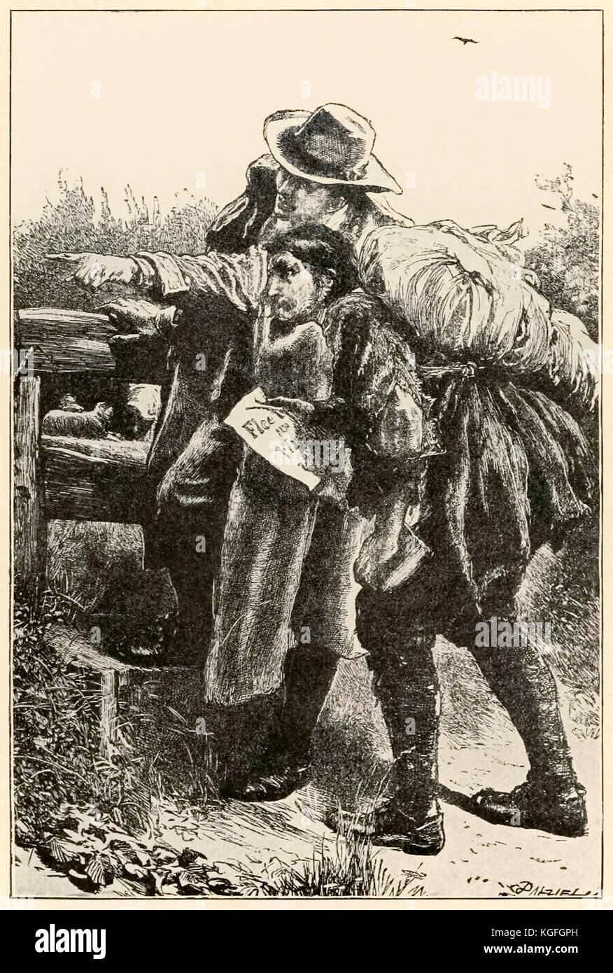 'Evangelist points the way'  from 'The Pilgrim's Progress From This World, To That Which Is To Come' by John Bunyan - Stock Image