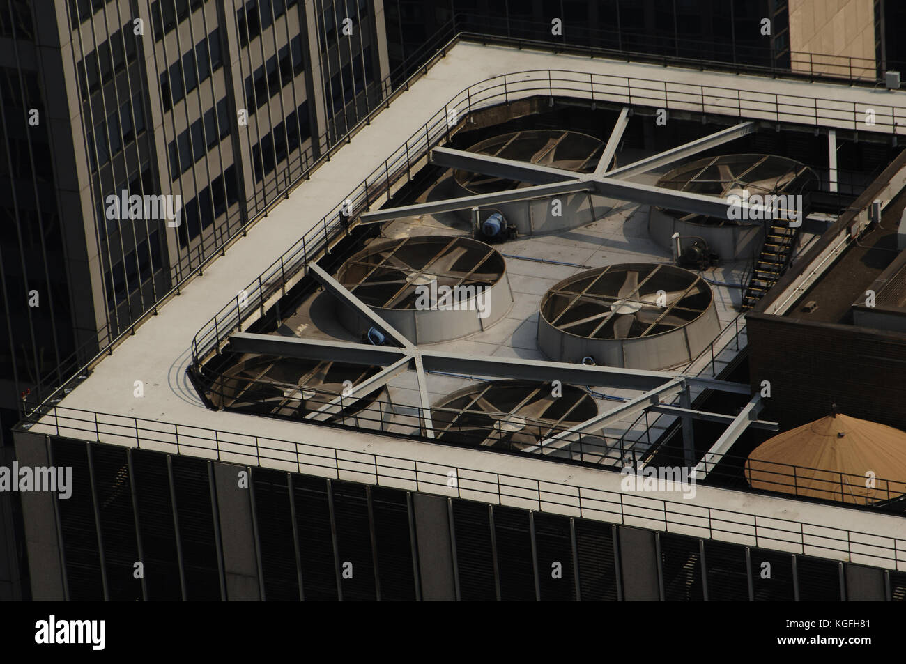 United States. New York. Cooling and ventilation systems of a skyscraper. Manhattan. - Stock Image