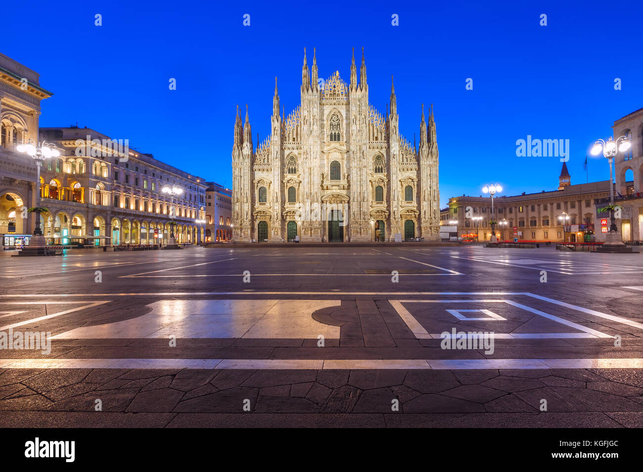 Night Piazza del Duomo in Milan, Italy - Stock Image