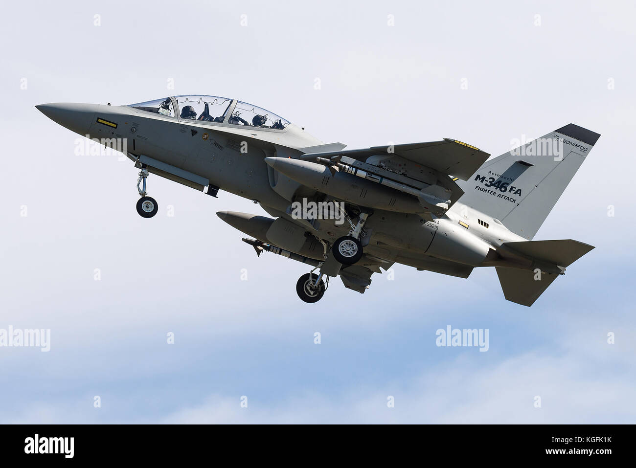 The Alenia Aermacchi M-346 Master military twin-engine transonic trainer aircraft is taking off from RAF Fairford. - Stock Image