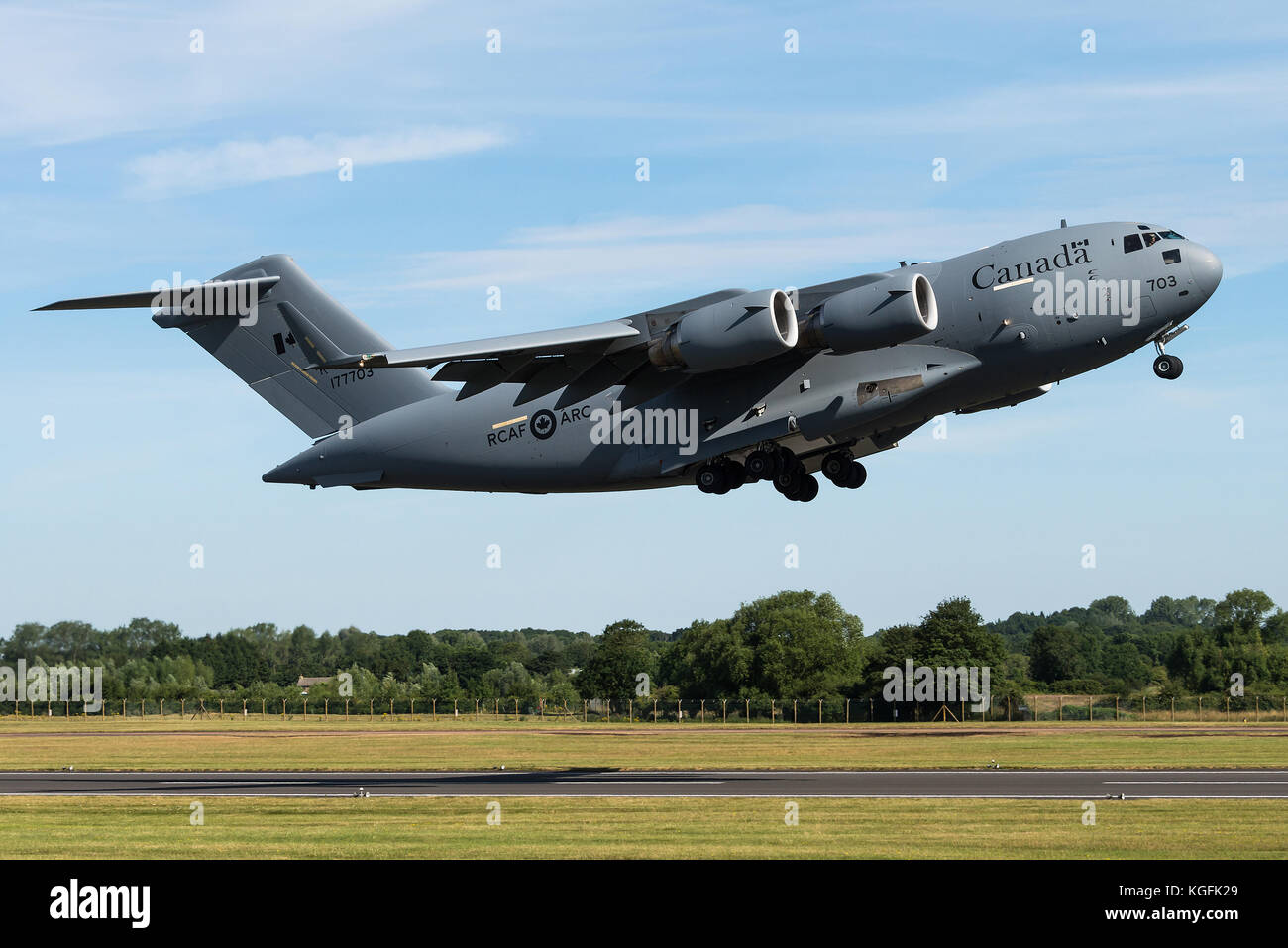 A C-17 Globemaster military transport aircraft of the 429 Transport Squadron of the Royal Canadian Air Force at - Stock Image