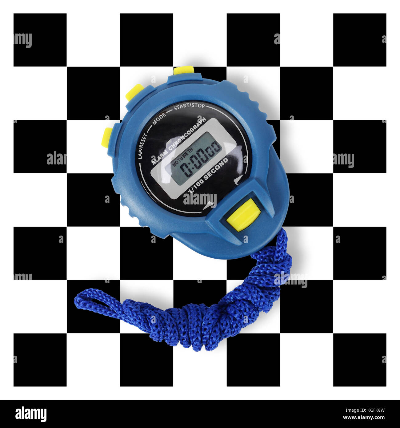 Sports equipment - Blue Digital electronic Stopwatch on a finish flag background. - Stock Image