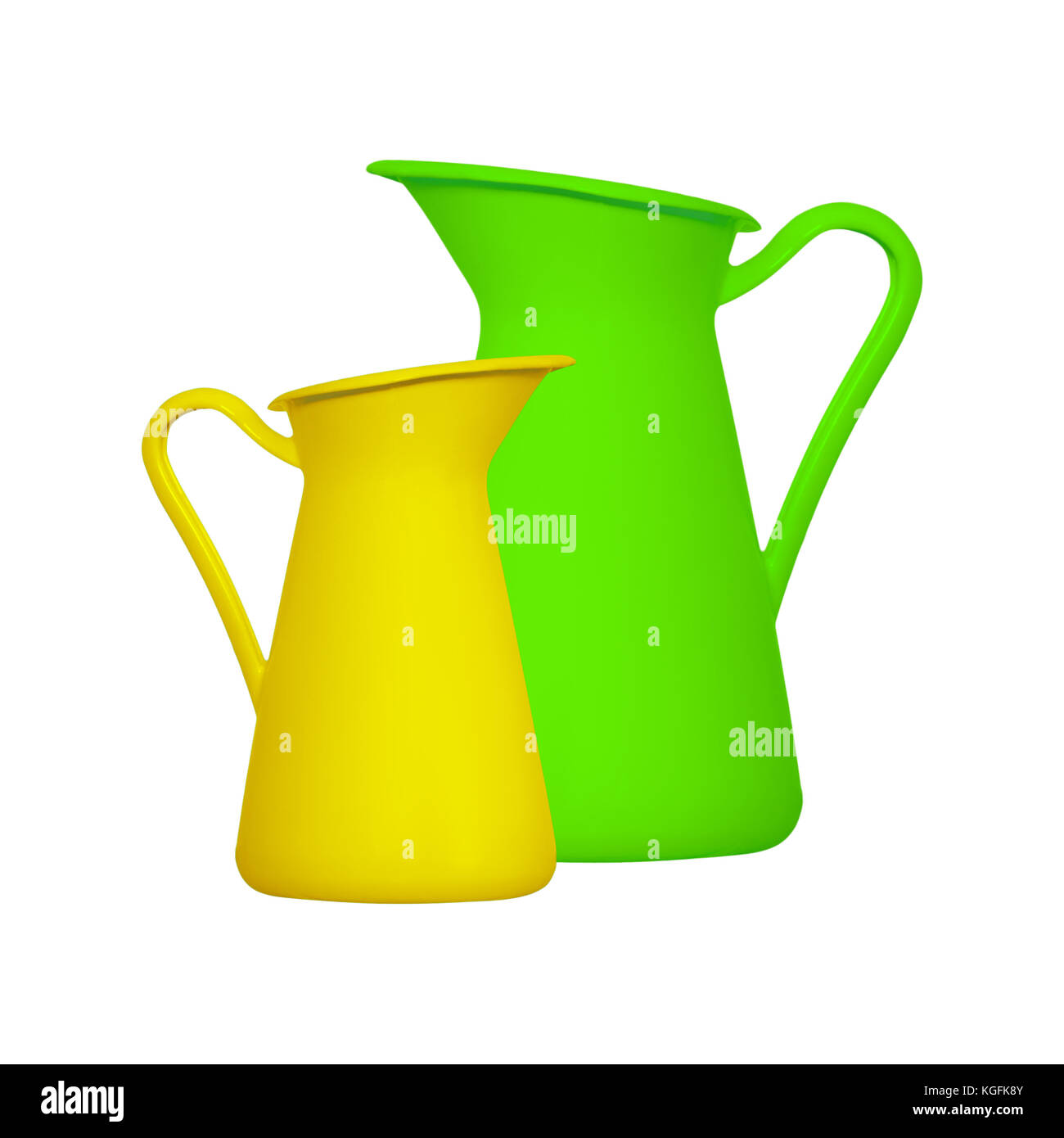 Storage for liquids - Green and yellow jug ewer on a white background. Isolated Stock Photo