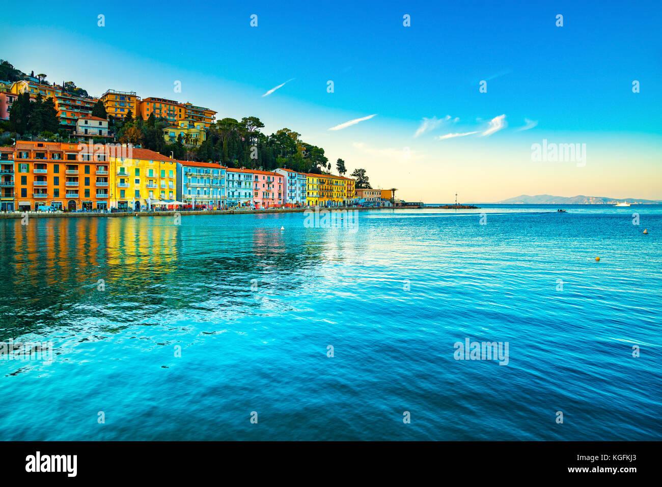 Porto Santo Stefano seafront, italian travel destination. Monte Argentario, Tuscany, Italy. Long exposure. - Stock Image