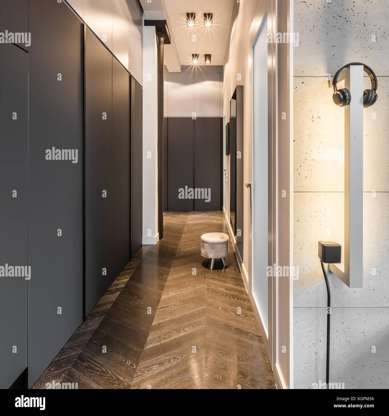 Corridor Design Ceiling: Wood Panels Wall Lights Stock Photos & Wood Panels Wall
