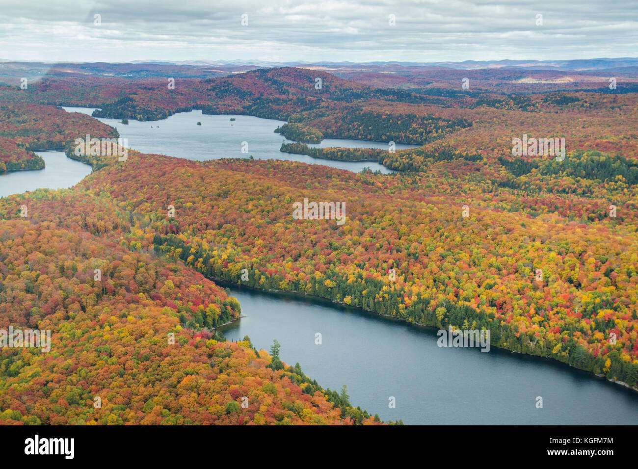 Fying over the autumn landscape at mont tremblant, Quebec,  Cananda. - Stock Image