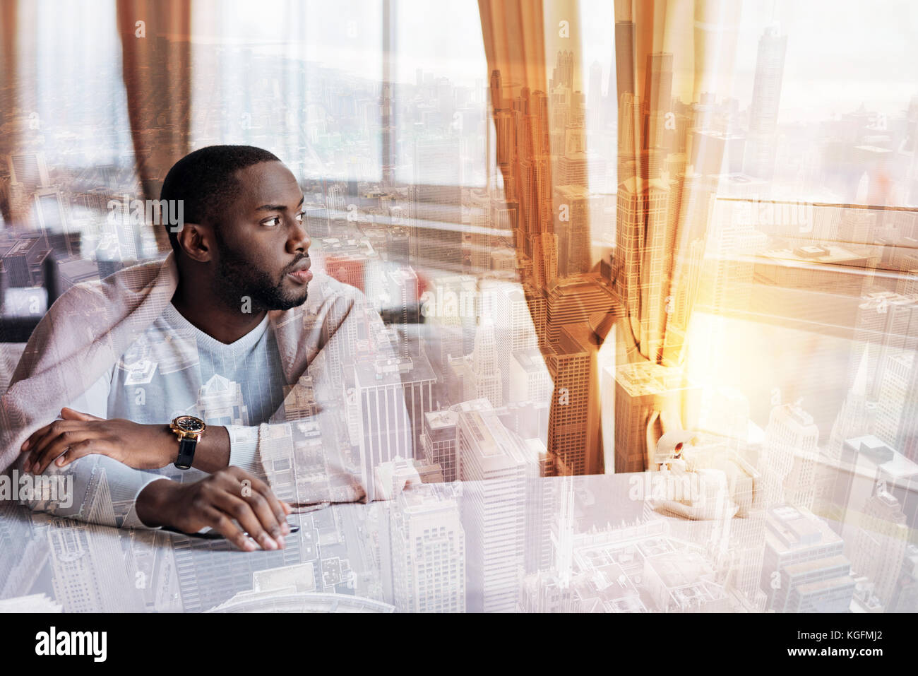 Young man thinking about life Stock Photo