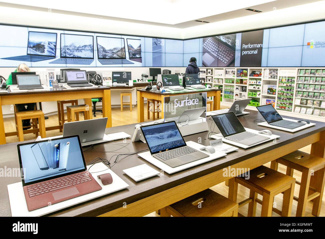 2650c88dc1d Variety of laptops running Windows Surface for sale at a Microsoft store in Prudential  Center in