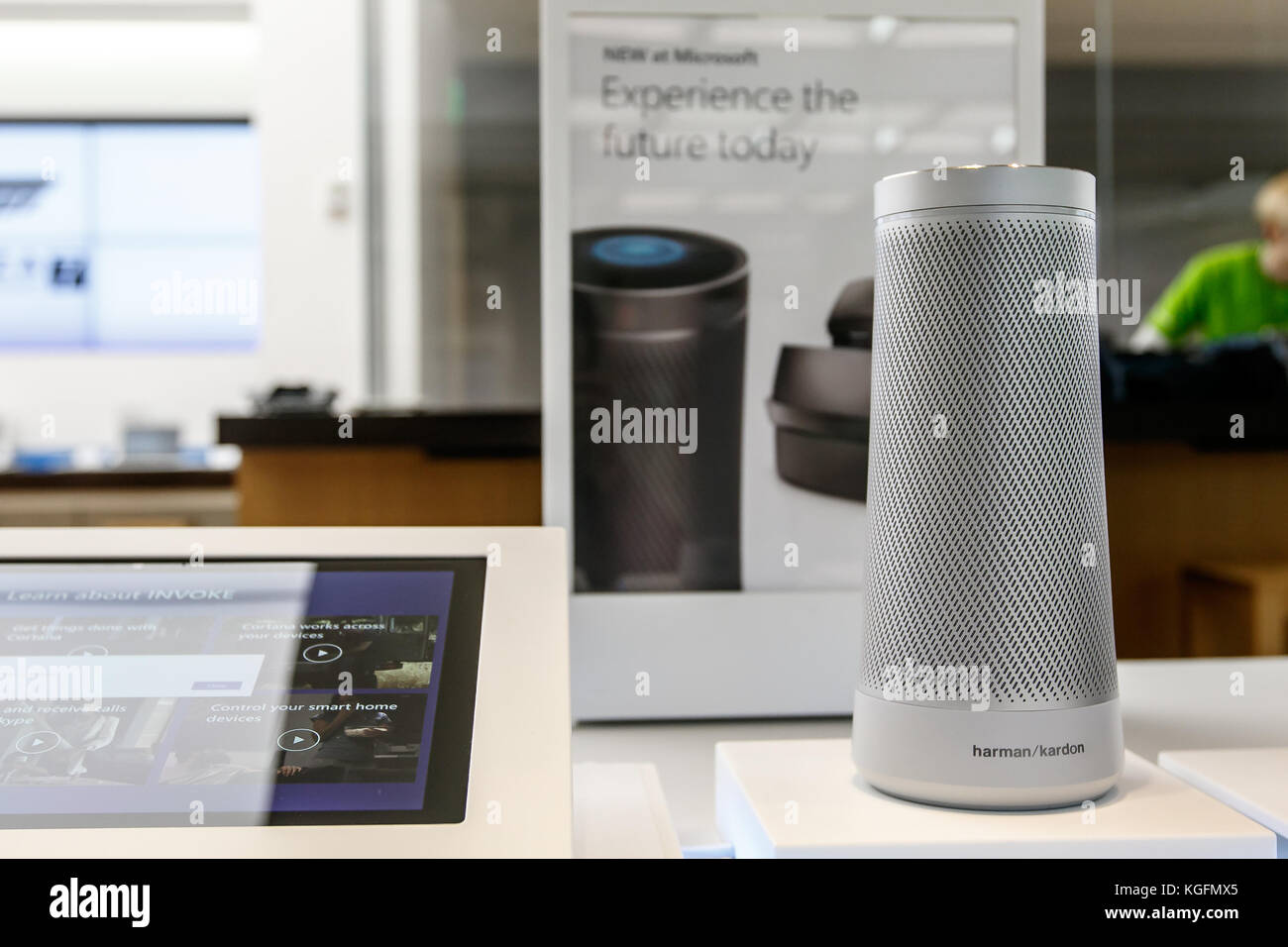 1798fe19ff6  Invoke  speakers by Harman Kardon for sale at a Microsoft store in Prudential  Center