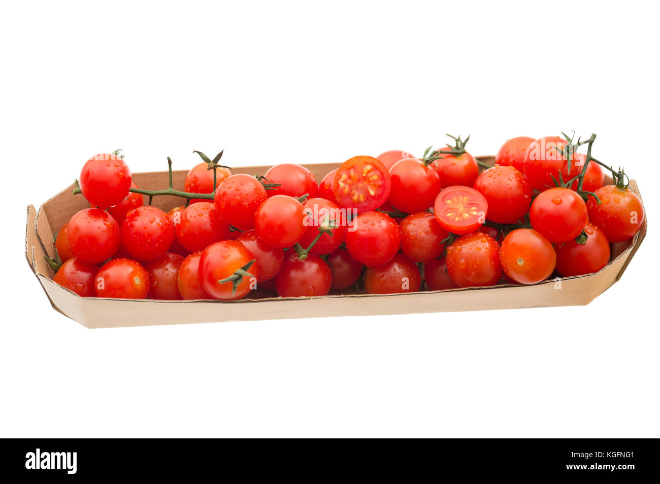 Fresh organic red cocktail tomatoes in a tray, isolated on white background.Stock Photo