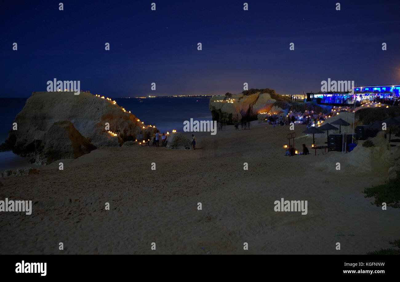 Full moon party 2017 in Gale beach. Albufeira, Algarve, Portugal - Stock Image