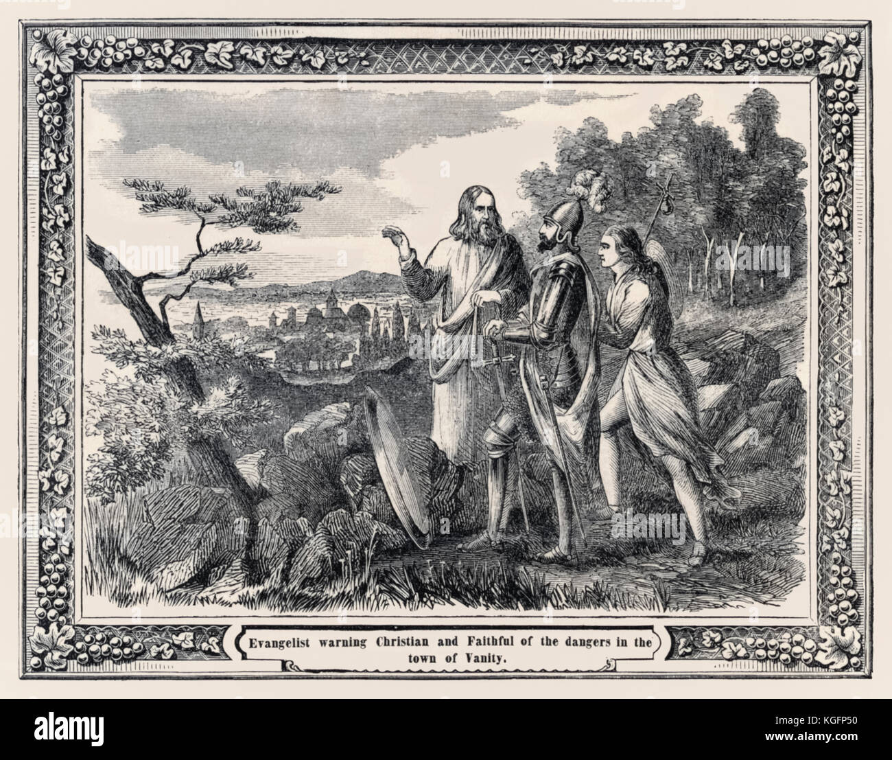 'Evangelist warning Christian and Faithful of the dangers in the town of Vanity' from the 'Pictorial Pilgrim's - Stock Image