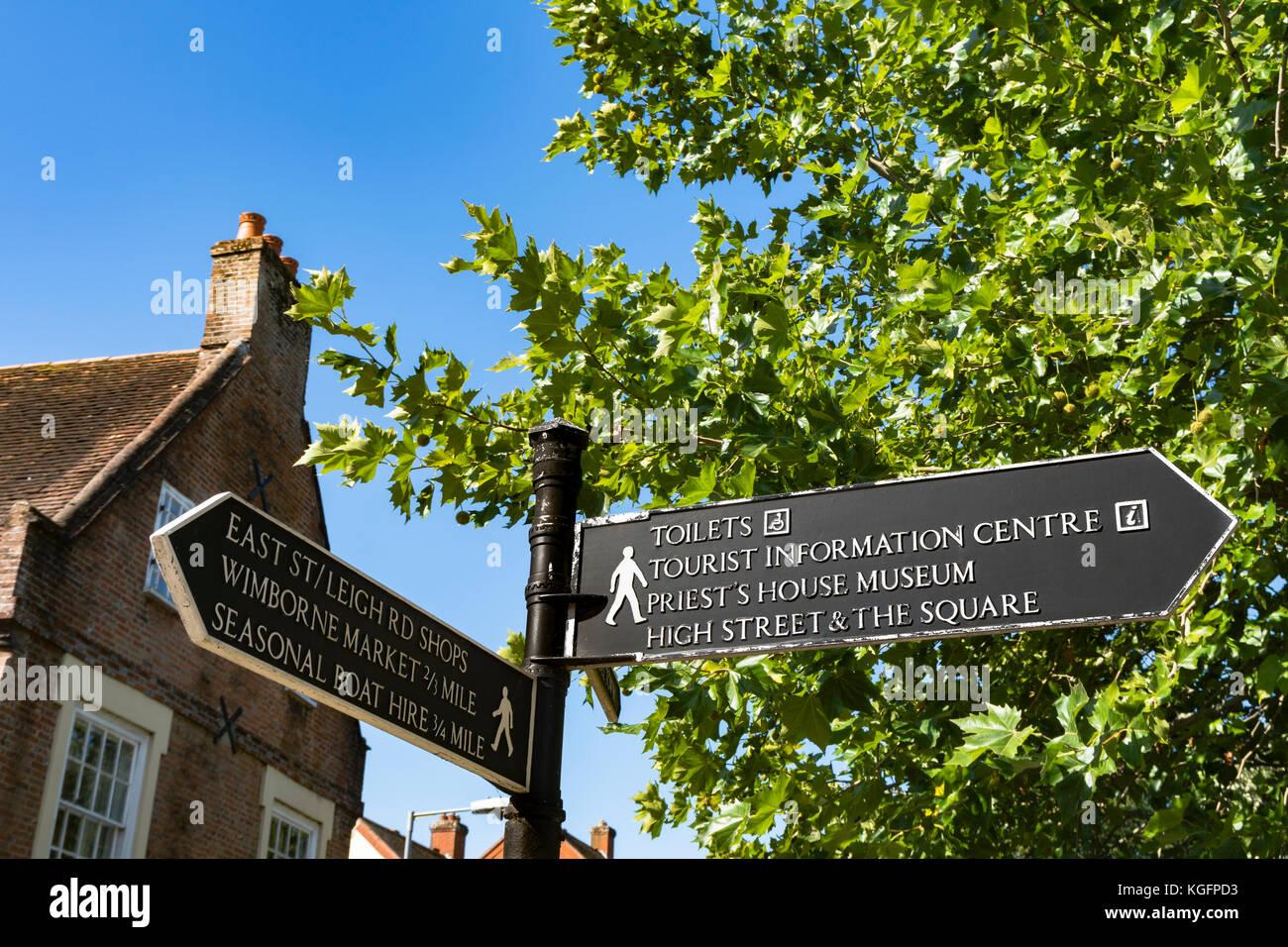 Tourist Information Sign, in Wimborne Minster, UK. - Stock Image
