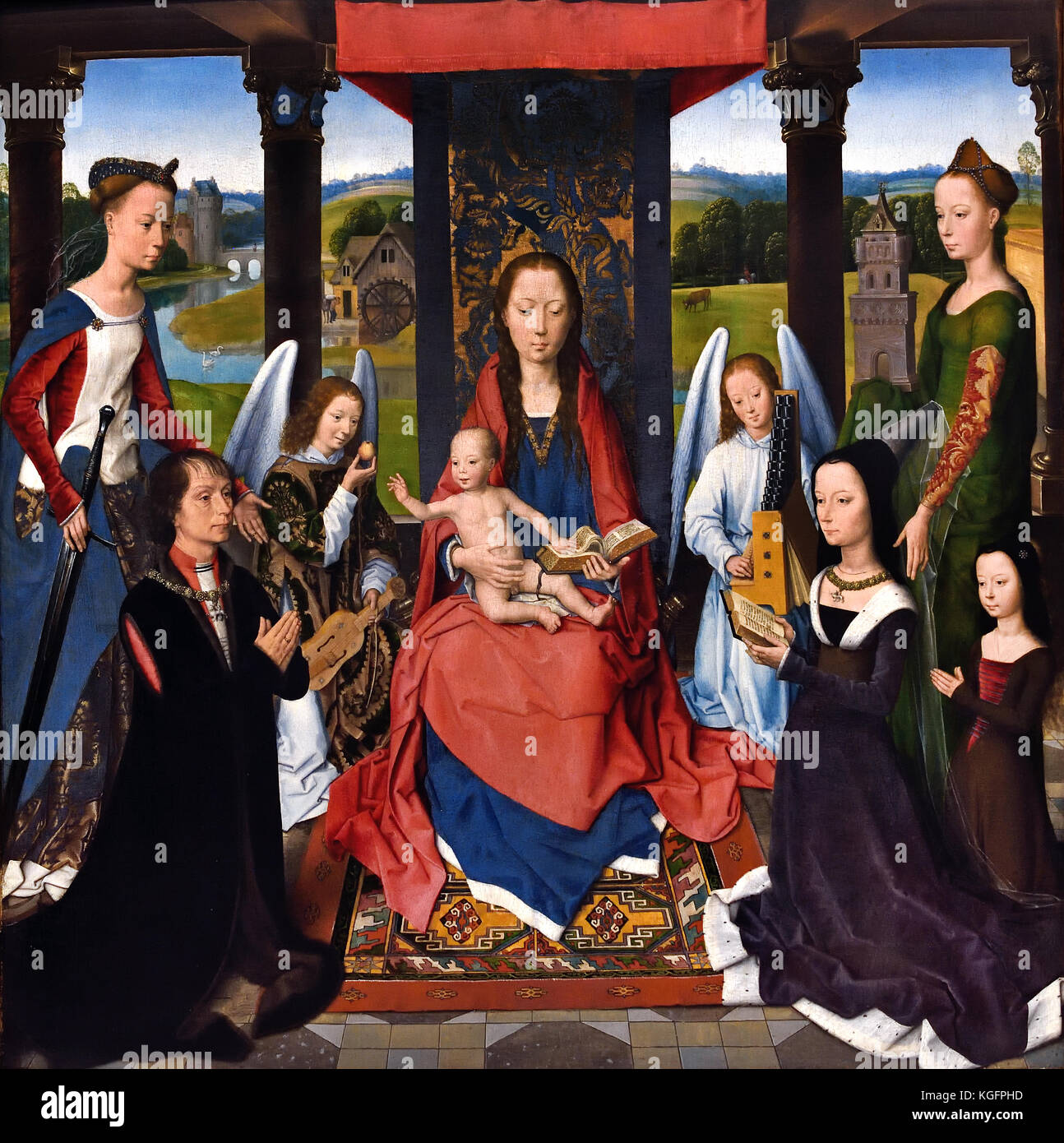 The Donne Triptych 1478 Hans Memling ( Memlinc ) 1430 – 1494 German Germany ( The central panel shows Sir John Donne - Stock Image