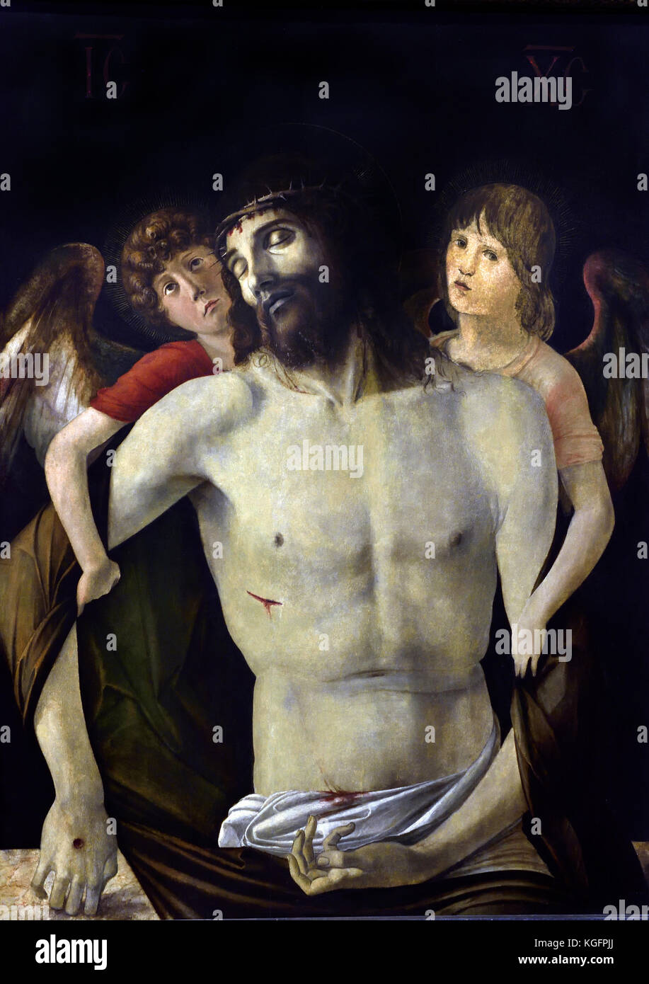 The Dead Christ supported by Angels 1465-70 Giovanni Bellini,1459 - 1516,  was an Italian Renaissance, painter, - Stock Image