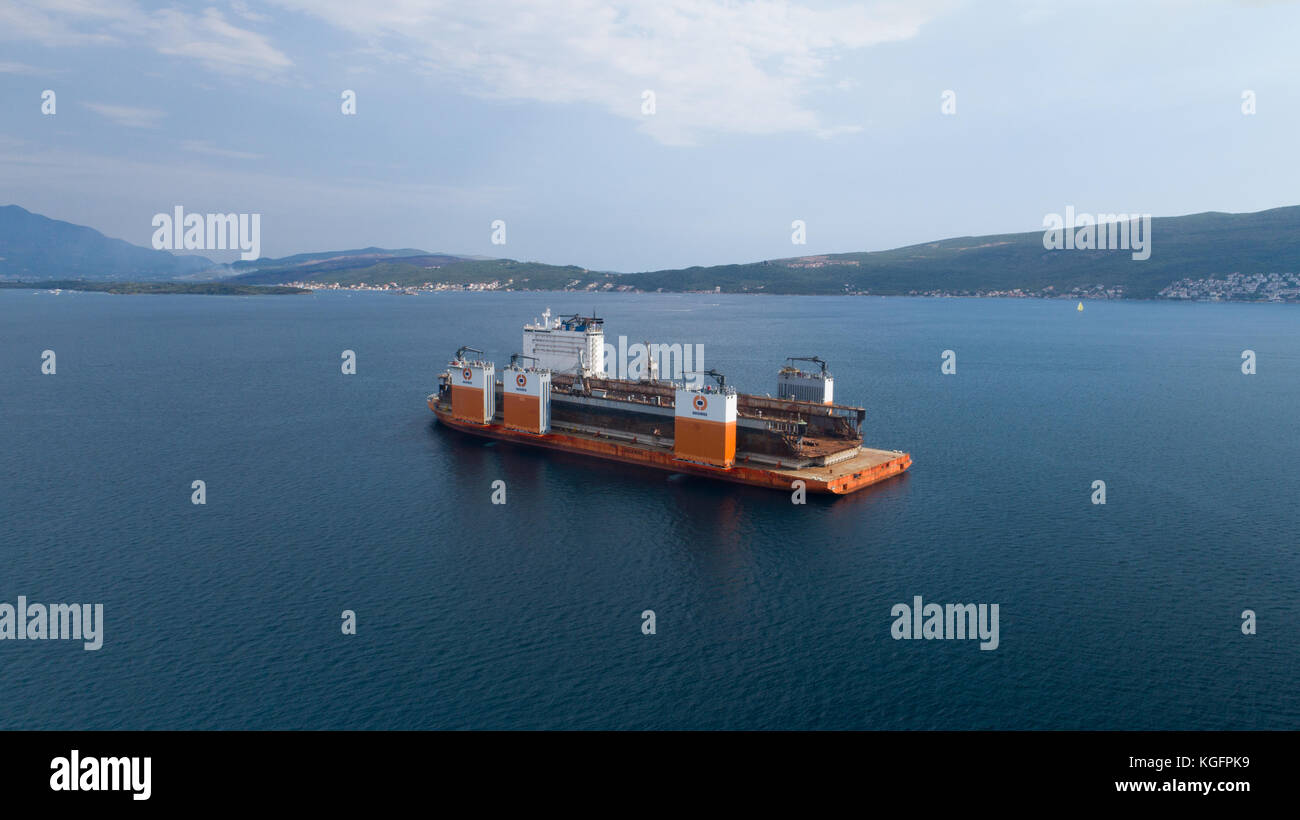 Tivat, Montenegro - 4 August 2017: Heavy lift vessel Dockwise Vanguard came to Montenegro to take the floating dock - Stock Image