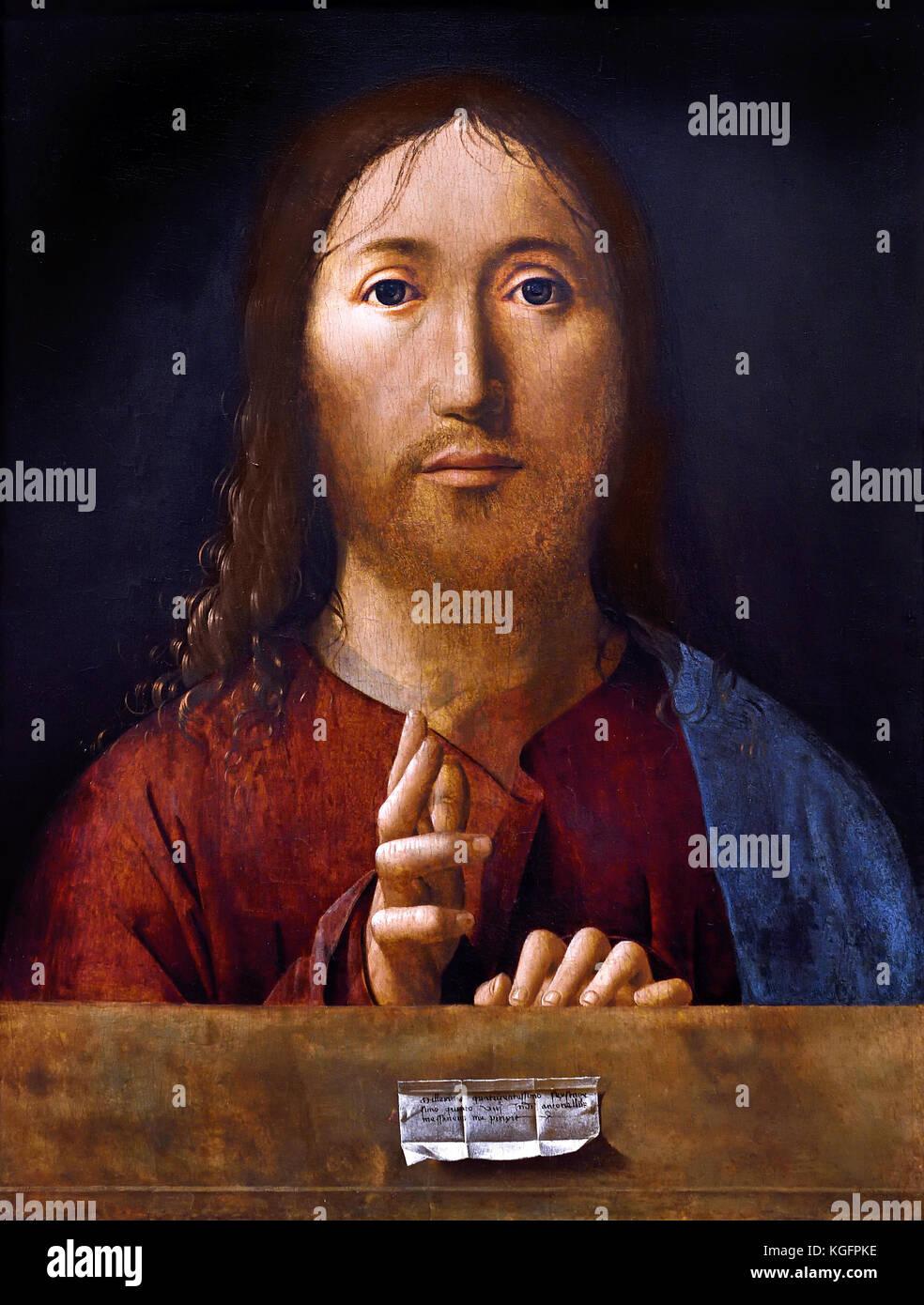 Christ Blessing 1465 Antonello da Messina ( Antonello di Giovanni di Antonio )  active 1456 - 1479  Italian painter - Stock Image