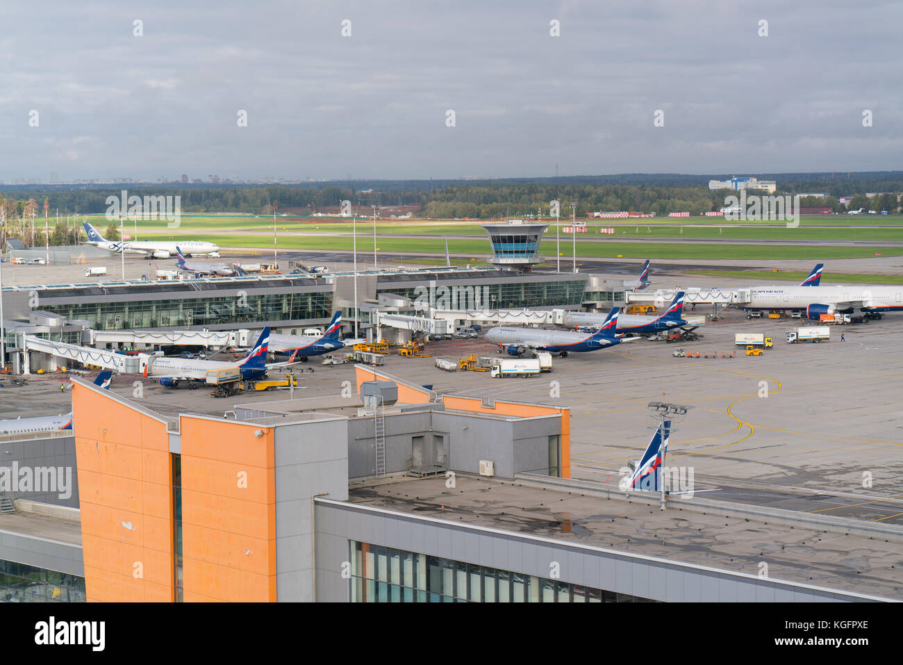 Moscow, Sheremetyevo airport, Russia - September 24, 2016: view of aircraft parking near terminals - Stock Image