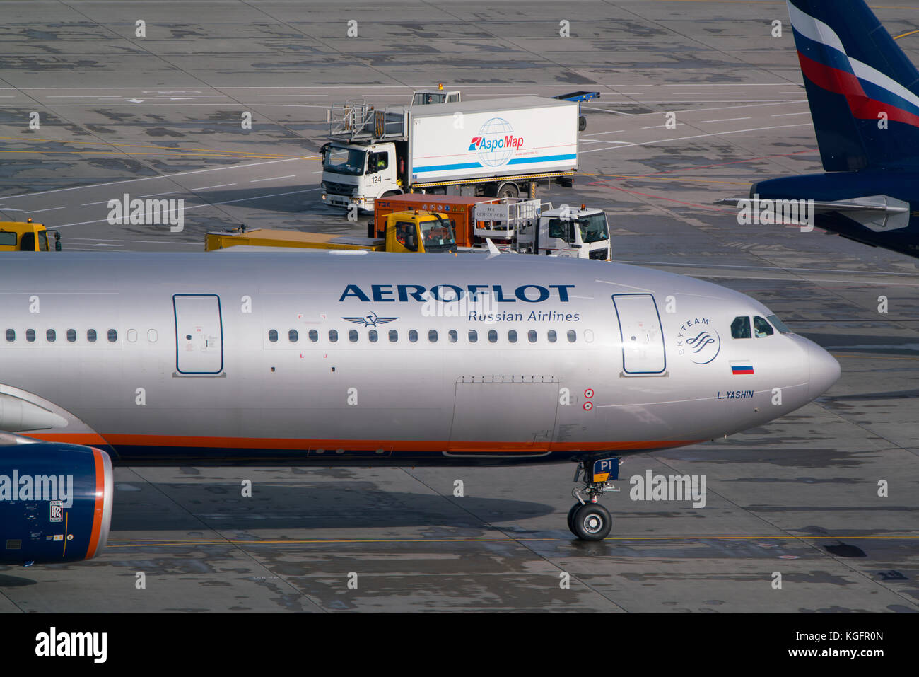 Moscow, Sheremetyevo airport, Russia - September 24, 2016: Aeroflot - Russian Airlines Airbus A330-343X,VQ-BPI taxiing - Stock Image