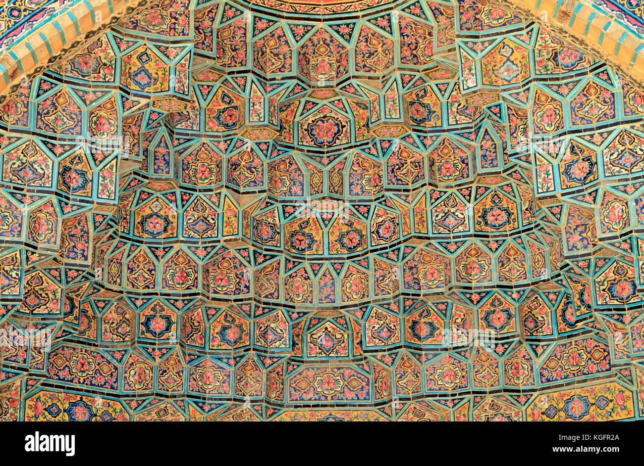 Detailed pattern of Nasir ol Molk mosque in Shiraz, Iran - Stock Image