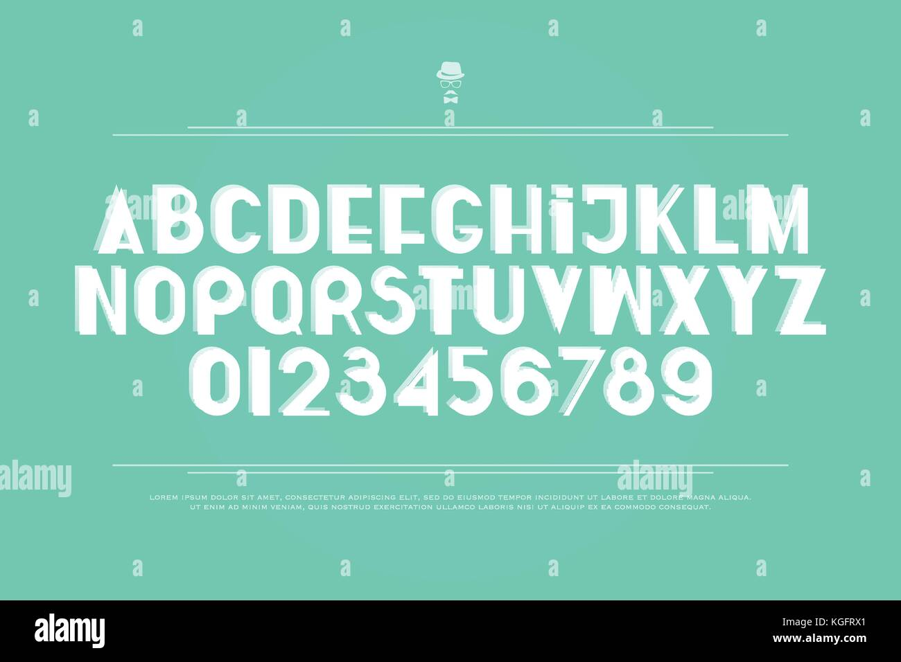 stylish, white alphabet letters and numbers  vector, bold font type