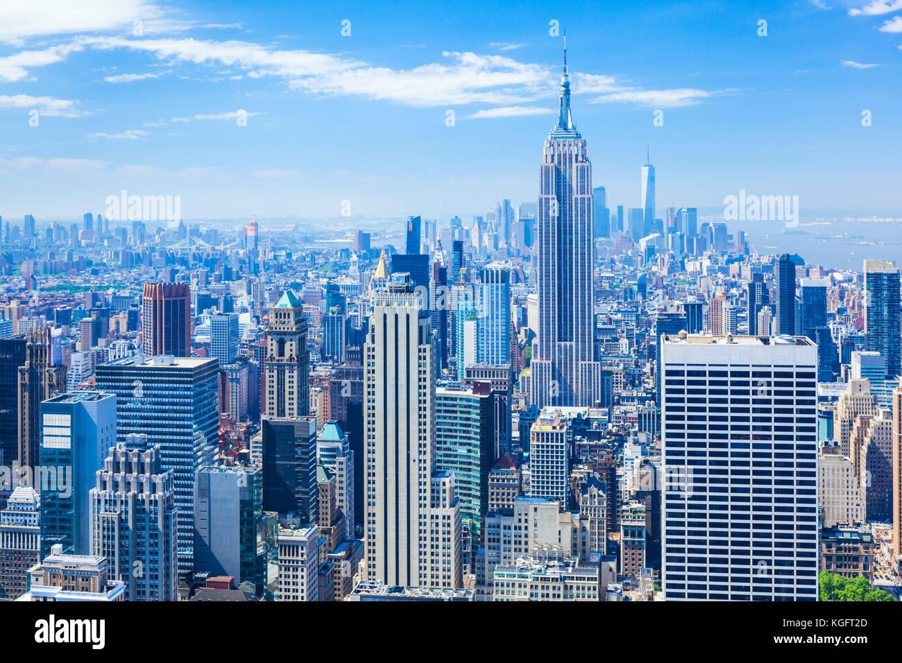 Manhattan skyline, New York Skyline, Empire State Building, New York City, United States of America, North America, - Stock Image