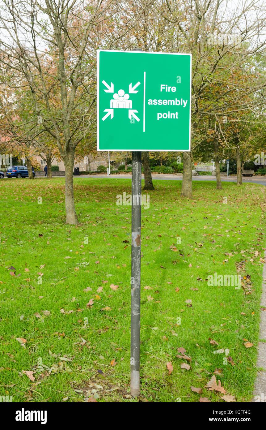 Signpost for fire assembly point in Armada Way, Plymouth, UK - Stock Image