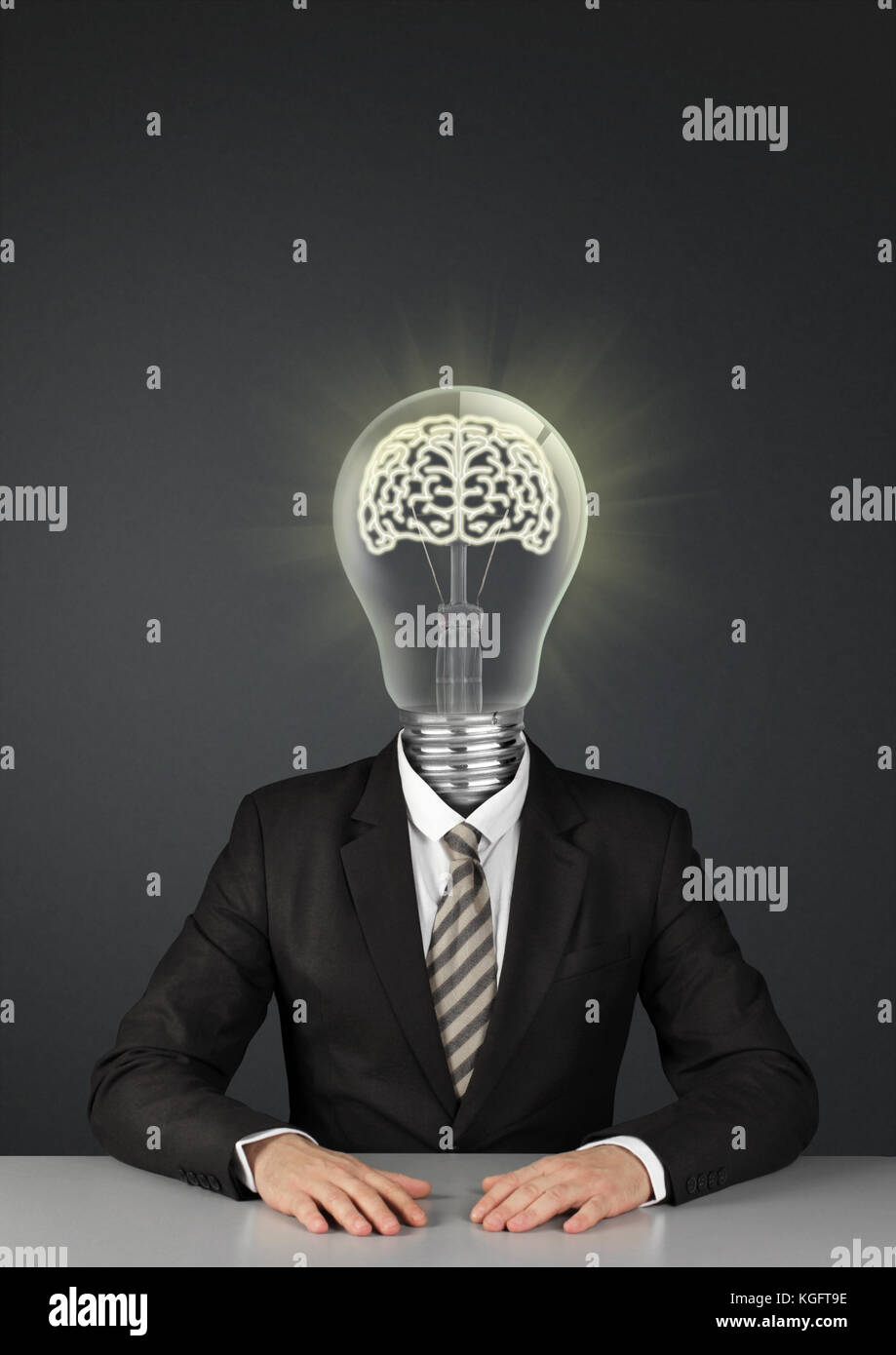Businessman on black with light bulb instead of head, great ideas concept Stock Photo