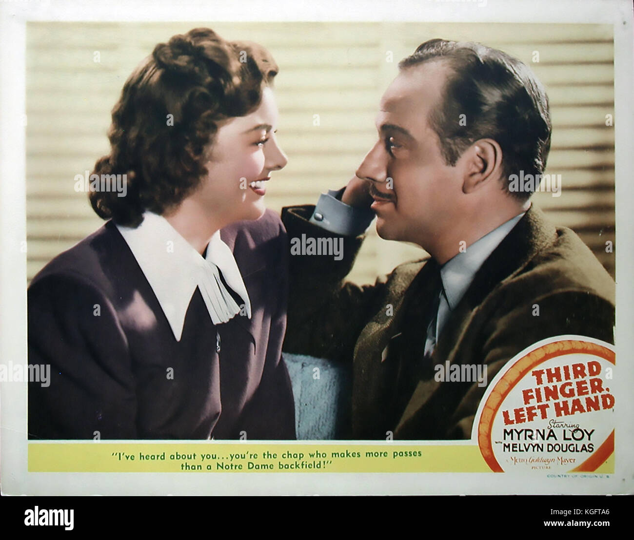 THIRD FINGER, LEFT HAND 1940 MGM film with Lyrna Loy and Melvyn Douglas - Stock Image