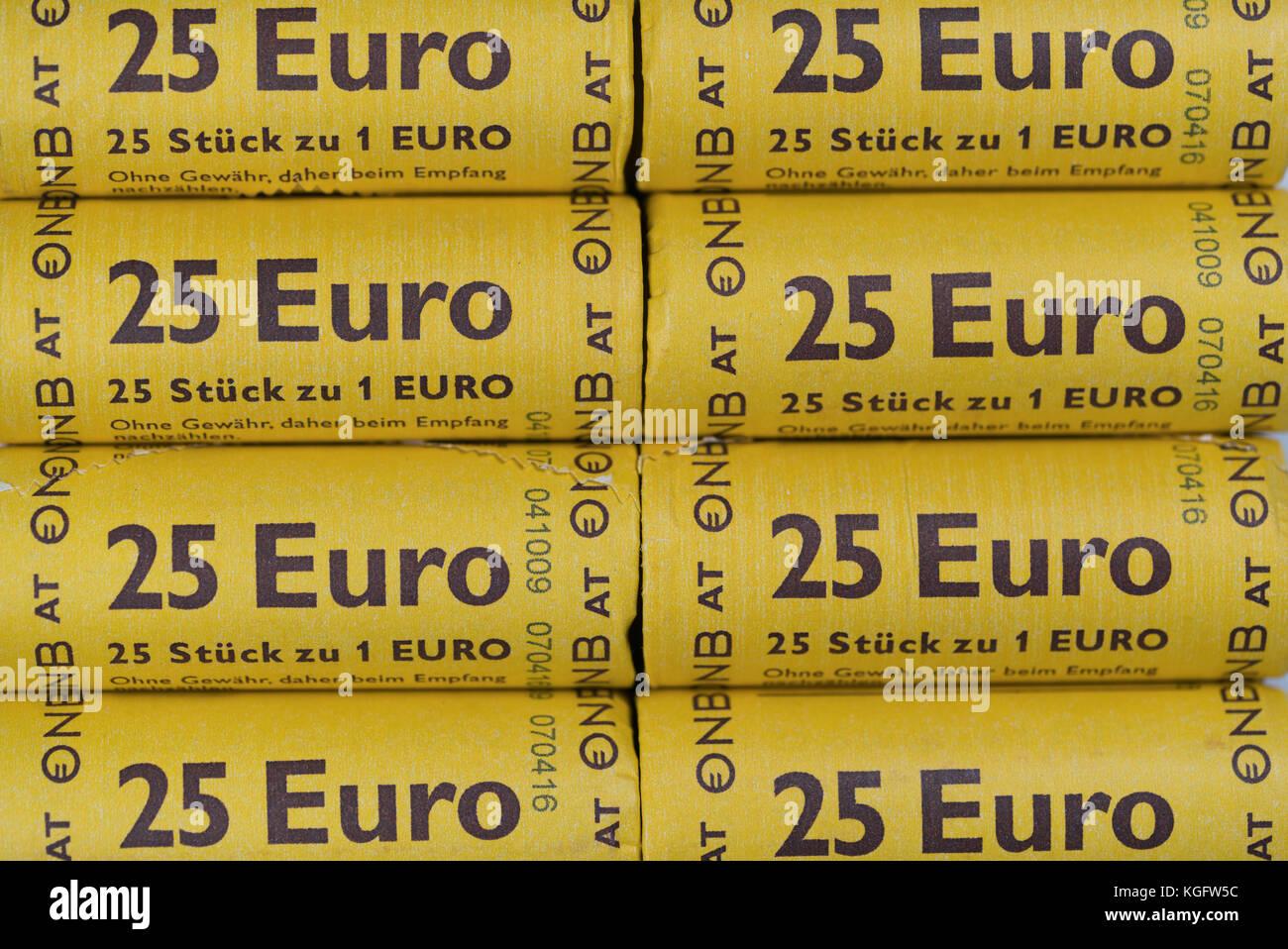 Bar, Montenegro - 26 September 2017: twenty-five euro sticks of one euro coins - Stock Image