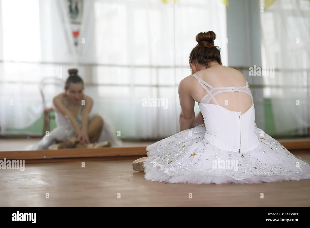 Pretty girl ballet dancer practicing Stock Photo