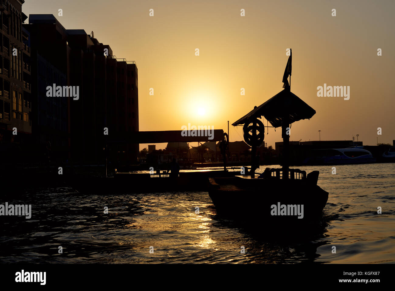 DUBAI, UAE - SEPTEMBER 10: The traditional Abra boat in