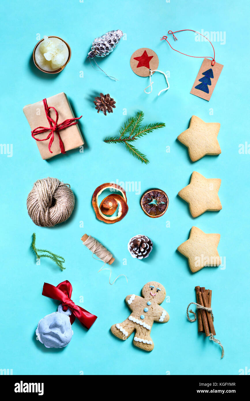 christmas collection with pine tree cookies gifts and toys for