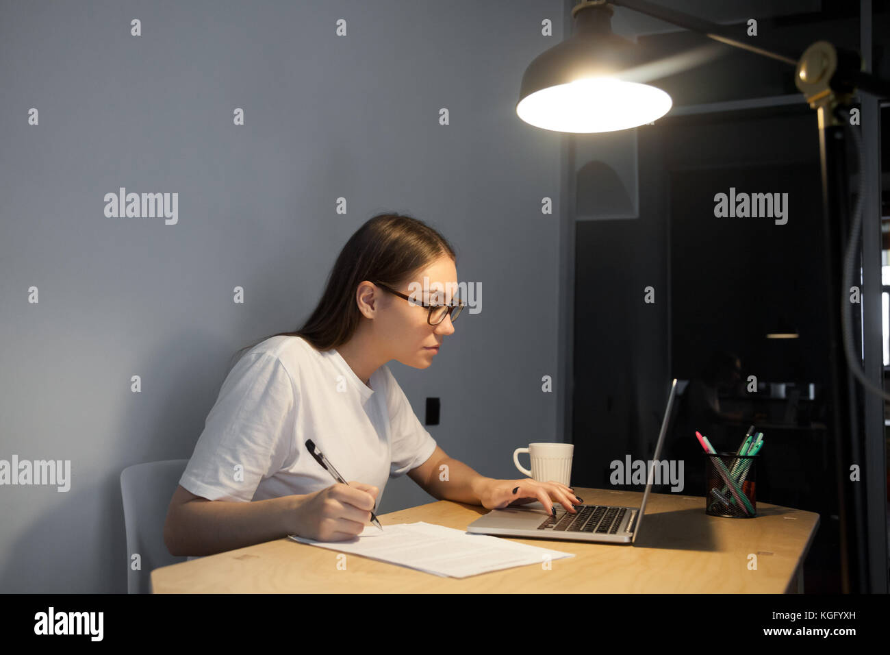 Young adult woman attentively reading contract, scientific article, chooses items to buy on laptop computer, making - Stock Image